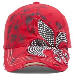 TopHeadwear-Beaded-Fleur-de-lis-Distressed-Adjustable-Baseball-Cap