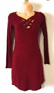 96aac67109 Image is loading Planet-Gold-Juniors-039-Lace-Up-Bodycon-Sweater-