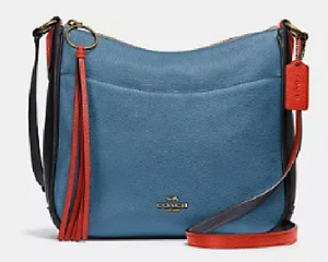 ❤️ Coach Chaise Colorblock in Pebble Leather Taupe Ginger Multi//Gold Crossbody