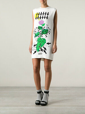 NWT CHRISTOPHER KANE WHITE SILK FLORAL DIAGRAM PRINT DRESS UK6 US2