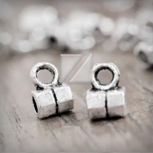 400pcs Slider Spacer Bails Connectors Tibetan Silver Tube 6x5x3mm Jewelry