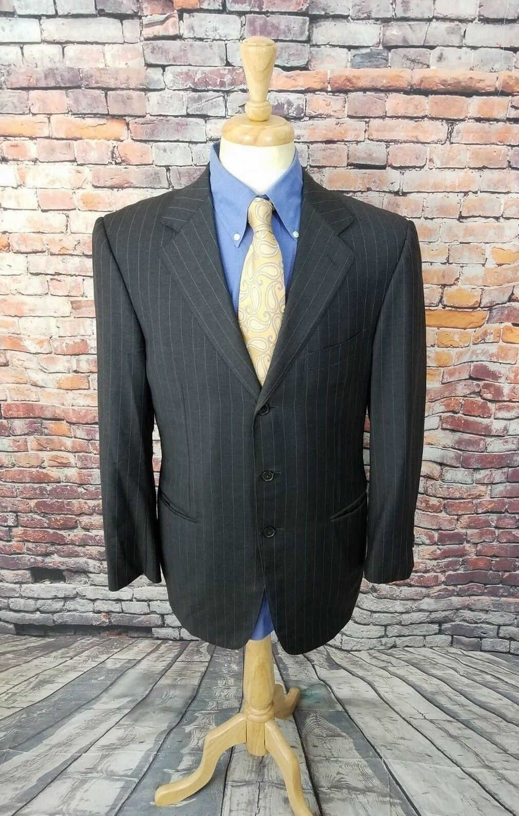 Ermenegildo Zegna Trofeo Switzerland 40R Grey Striped Wool Sport Coat Blazer EUC