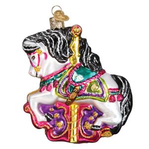 Old-World-Christmas-CAROUSEL-HORSE-44112-X-Glass-Ornament-w-OWC-Box