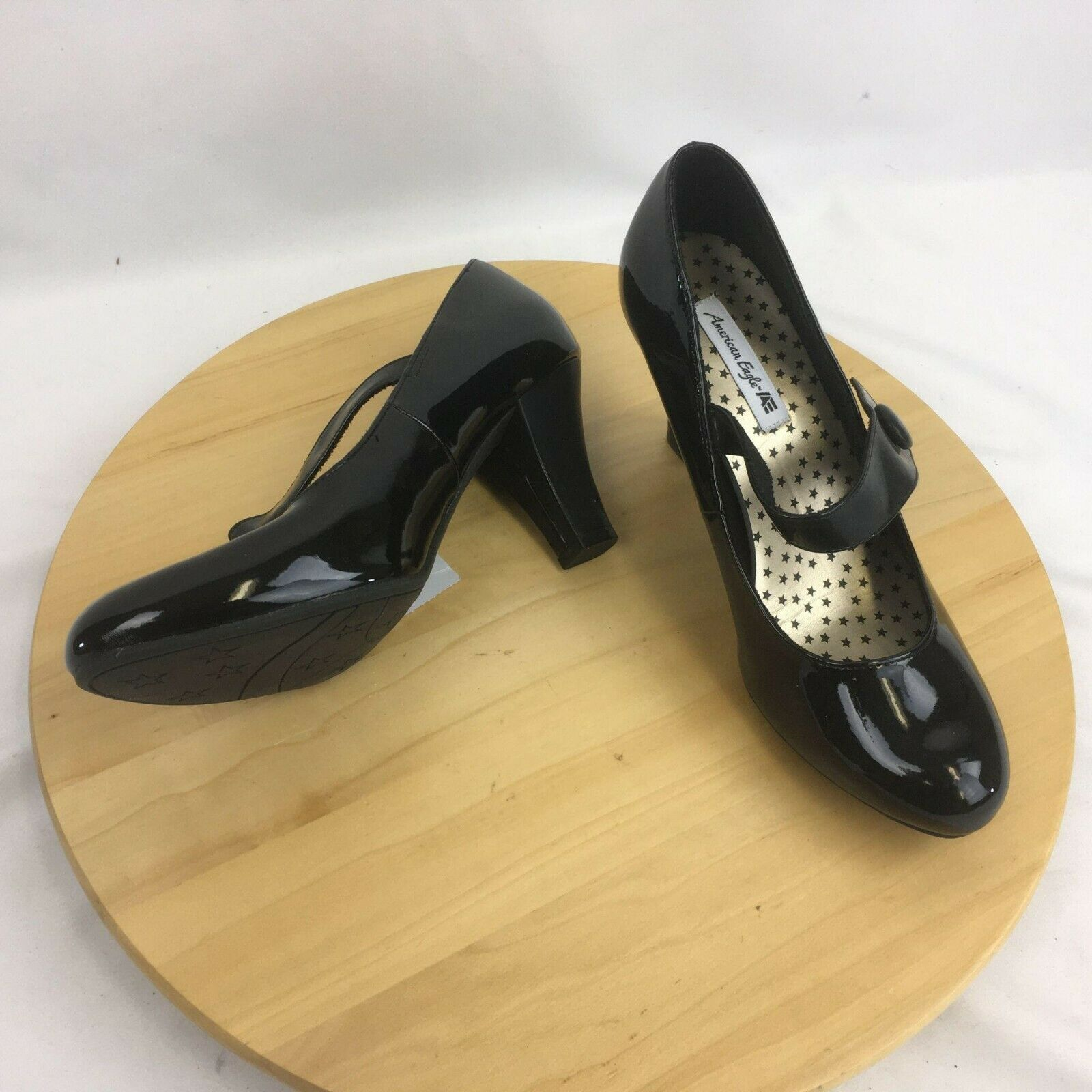 American Eagle Mary Jane Pumps Heels Shoes Womens 7W Black Faux Patent Lthr Look