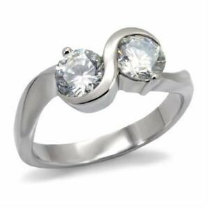 072-DOUBLE-SOLITAIRE-SIMULATED-DIAMOND-RING-STAINLESS-STEEL-NO-TARNISH-WOMENS