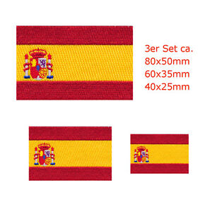 3 Spanien Flaggen Spain Flags Madrid Barcelona Patch Aufnäher Aufbügler Set 0679
