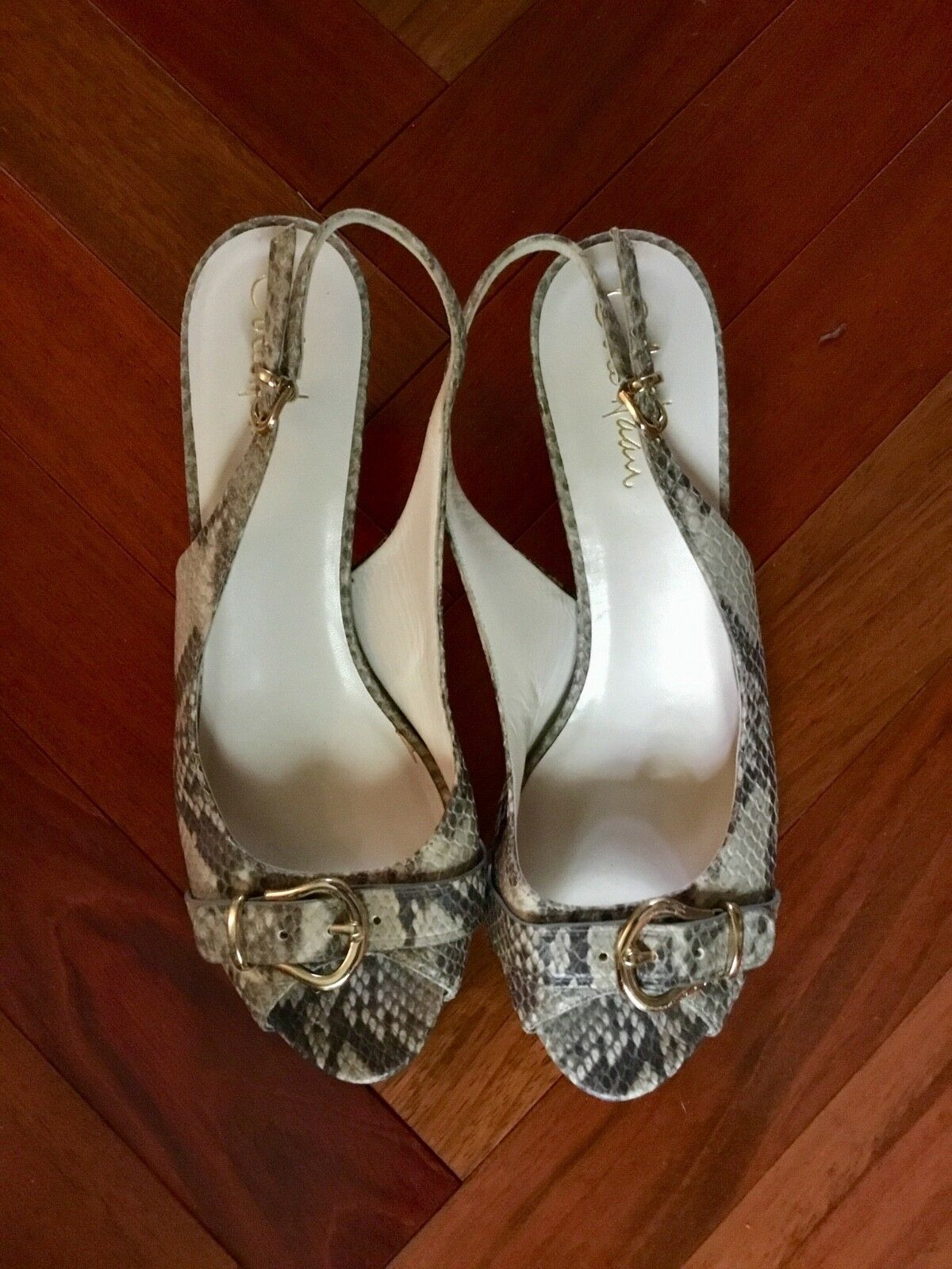 Cole Leather Haan Snake Reptile Pattern Leather Cole Slingback Heel Shoes Sz 9 M 16d373