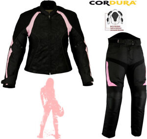 LADIES-PINK-SPEED-MAXX-WOMENS-MOTORBIKE-MOTORCYCLE-TEXTILE-JACKET-TROUSERS-SUIT