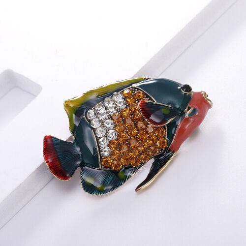 Enamel Fish AnimalCrystal Rhinestone Brooch Pin Wedding Banquet Party Jewelry UK