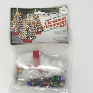 Vtg-THL-Crafts-Mini-Christmas-Trees-Beaded-Sequin-Ornament-Kit-Multicolor-New