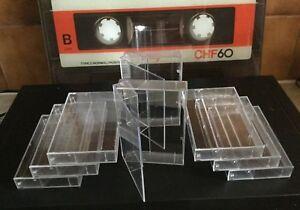 9 x 1 AUDIO MUSIC CASSETTE TAPE CASES / EMPTY CASES  CLEAR TRANSPARENT QTY 9 NEW