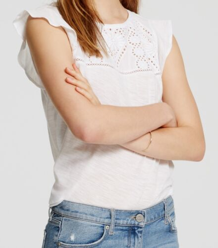 X-Small Petite White Ann Taylor LOFT Lacy Flutter Tee Top Size X-Large Regular