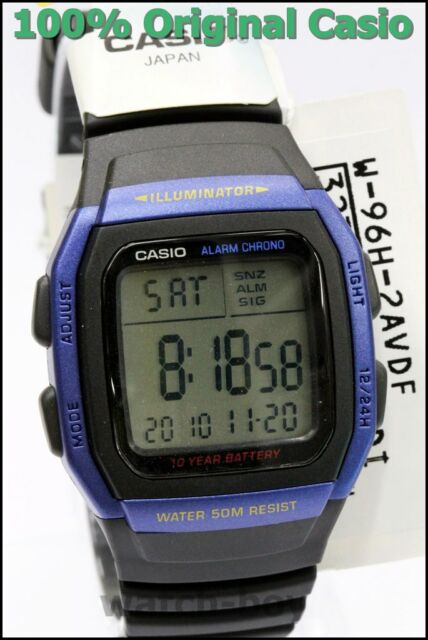 W-96H-2A Blue Casio Watches Men's Digital Alarm Chronograph 50M Resin Band Sport