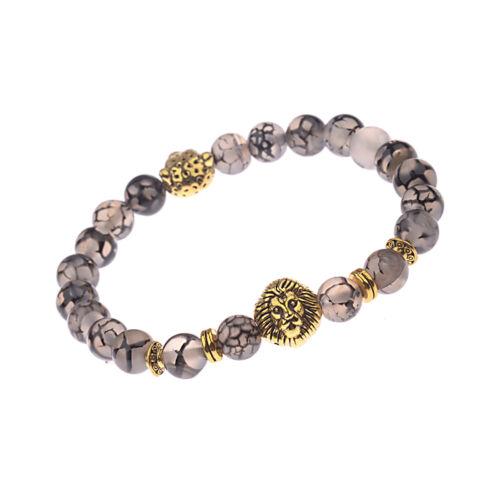 2017 Men/'s Black Lava Stone Gold Lion Leopard Beaded Charm Bracelets Cheapest