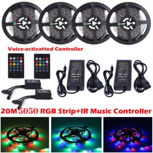 5M-20M Musik LED Streifen SMD5050 RGB Flexible Lichtleiste 20Key IR Controller