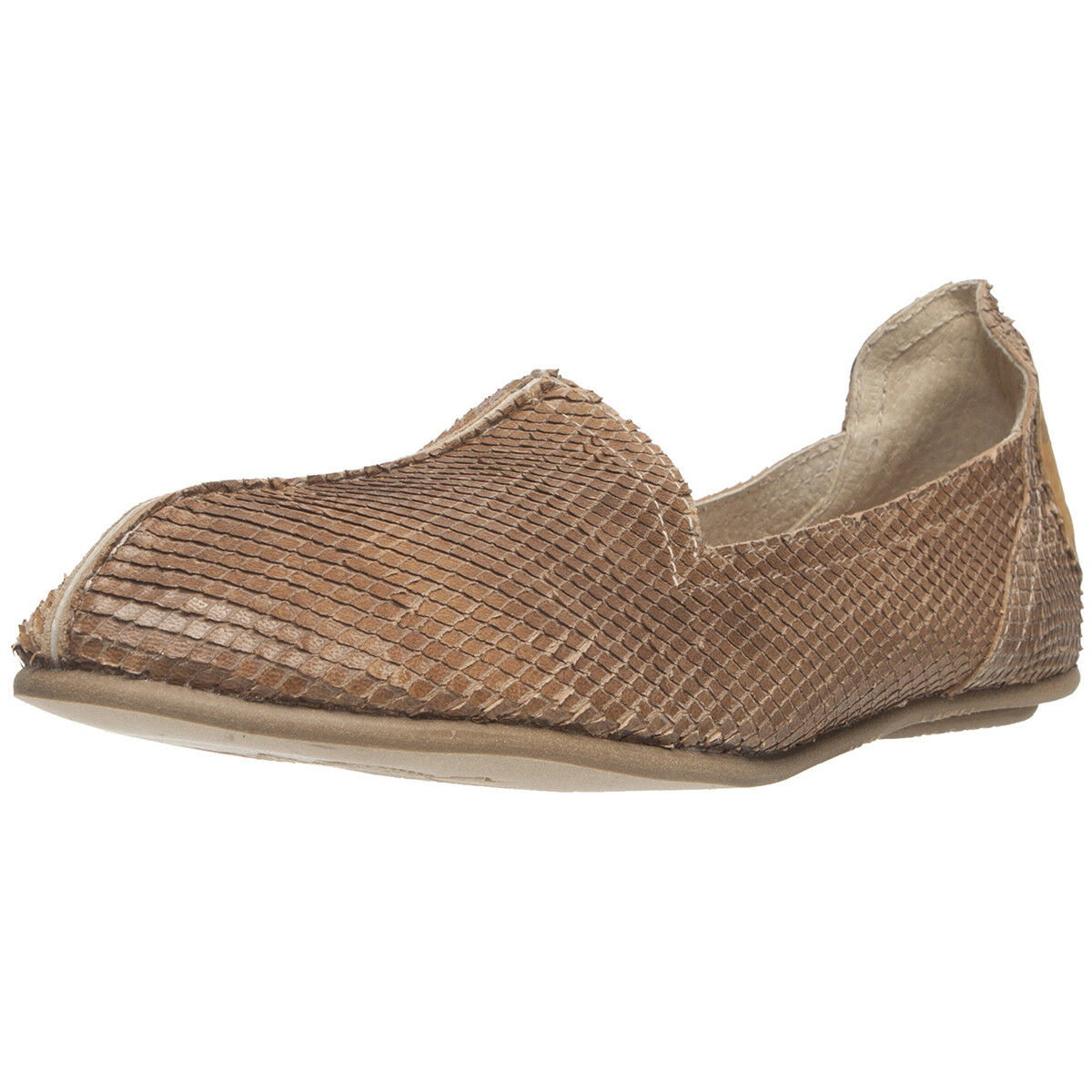 Mayan Roots Women's Beige Reptile Skin Print Leather Flat shoes