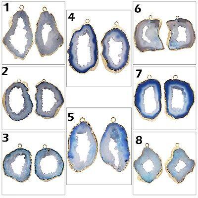 Sky Blue Natural Geode Slice Druzy Gold Plated Bracelets Pendants Connector
