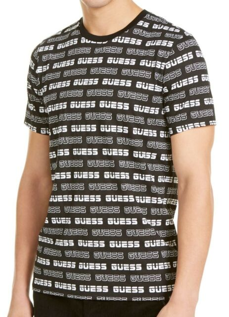 Guess Mens T-Shirt Black Size XL Graphic Logo All Over Crewneck Tee $39 #093