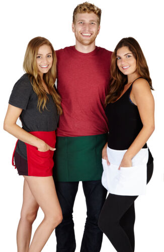 2 Pack New Waitress Waiter Waist Half Bip Aprons Heavy Duty Choose from 4 Colors