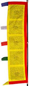 VertrauenswüRdig Gebetsfahne Tibetische Gebetsstandarte Länge 2,3m Gelb Handarbeit Aus Nepal