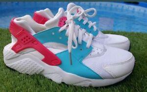 f4d6dcde4fa6 Euc Womens Girls white - pink - blue Nike Huarache trainers size 5 fit 4