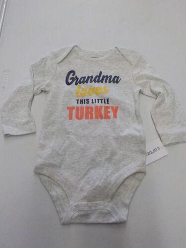 BABY 9 MONTHS CARTER/'S GRANDMA LOVES LITTLE TURKEY THANKSGIVING BODYSUIT #11729