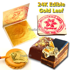 20 Edible Gold Leaf Sheets 24K 100% Pure Cake Decoration ...