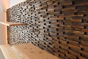 Holz Wandfliesen teak altholz wand verblender verkleidung paneele wandfliese riemchen