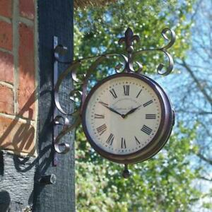 Smart-Garden-Vintage-Station-Outdoor-Wall-Clock-amp-Thermometer-With-Wall-Bracket