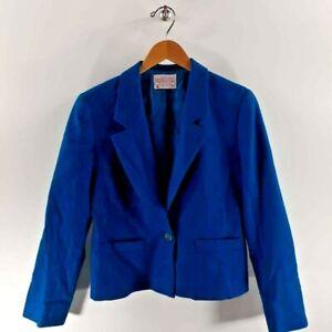 Pendleton Womens Blazer Blue Notch Lapel Pockets 100% Virgin Wool USA Petite 8