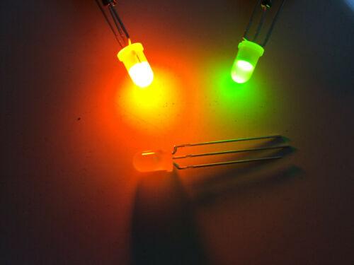 5mm Green /& Orange Bicolour LED 572nm /& 605nm 3-Pin Common Cathode Multi Qty