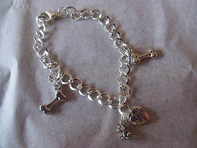 dog, puppy, silver Charm bracelet, Dog Bone, Love My Dog