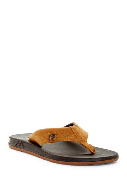 Reef -7- Men's Element Brown Leather Surf Flip Flops Sandals shoes NWT