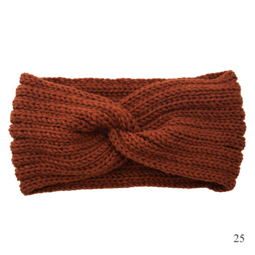 Fashion Crochet Knit Woolen Headband Weaving Cross Headwrap Winter DIY Hairband