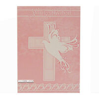 Baptism Or Communion Pink Dove Cross Invitation Cards 8 Ct