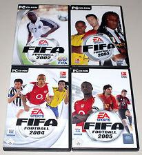 4 PC SPIELE SAMMLUNG - FIFA 2002 2003 2004 2005 - SOCCER FOOTBALL FUSSBALL EA