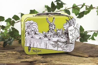 ALICE IN WONDERLAND LUNCH BOX TIN: RETRO: Mad Hatter Tea Party : WH3 : 303 : NEW