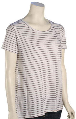 New Gunmetal Grey Volcom Lived In Stripe Women/'s T-Shirt