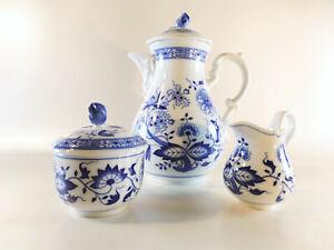 Kaffeekern-Kanne-Zuckerdose-Sahnekaennchen-Hutschenreuther-Blau-Zwiebelmuster