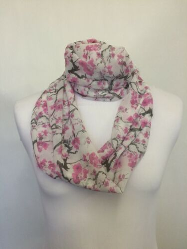 Infinity Scarf Jersey Or Chiffon Cherry Blossoms Unisex Fashion Loop Scarves