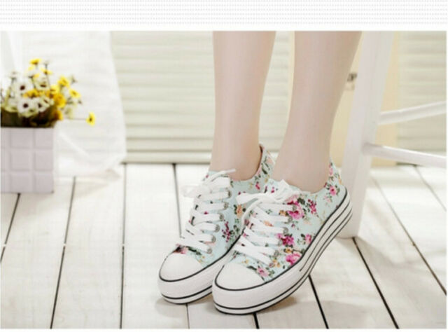 Women's Floral Platform Wedge Sneakers Lace Up Canvas Casual Muffin Shoes J840
