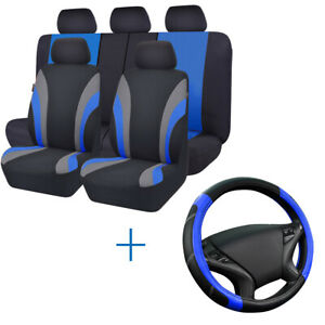 Universal-Car-Seat-Covers-Steering-Wheel-Cover-Blue-Black-Polyester-For-Toyota