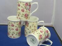 Rose Basket Set 4 Mugs Made In England Adderley Ceramics Fine Bone China 10oz