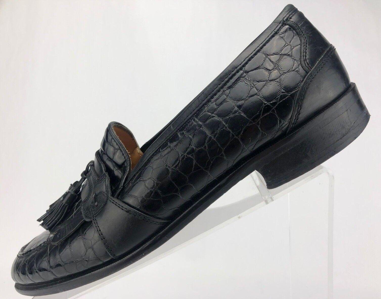 Johnston Murphy Tassel Loafers Kiltie Black Croc Embossed Dress shoes Mens 10.5 M