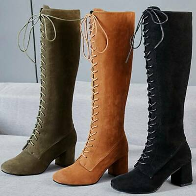 Womens Vintage Lace Up Knee High Boots