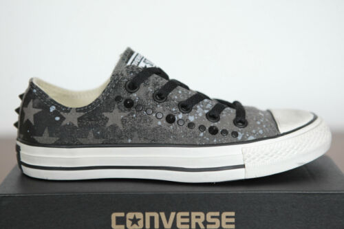 NUOVO All Star Converse Chucks Low Sneaker Scarpe Charcoal Studded 142221c
