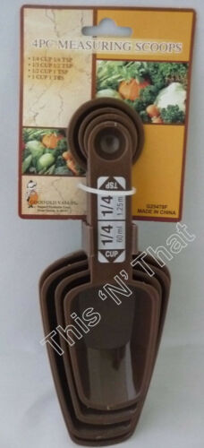 1 Cup NEW 4 Piece Measuring Scoops and Spoons Set All In One 1//4 Teaspoon