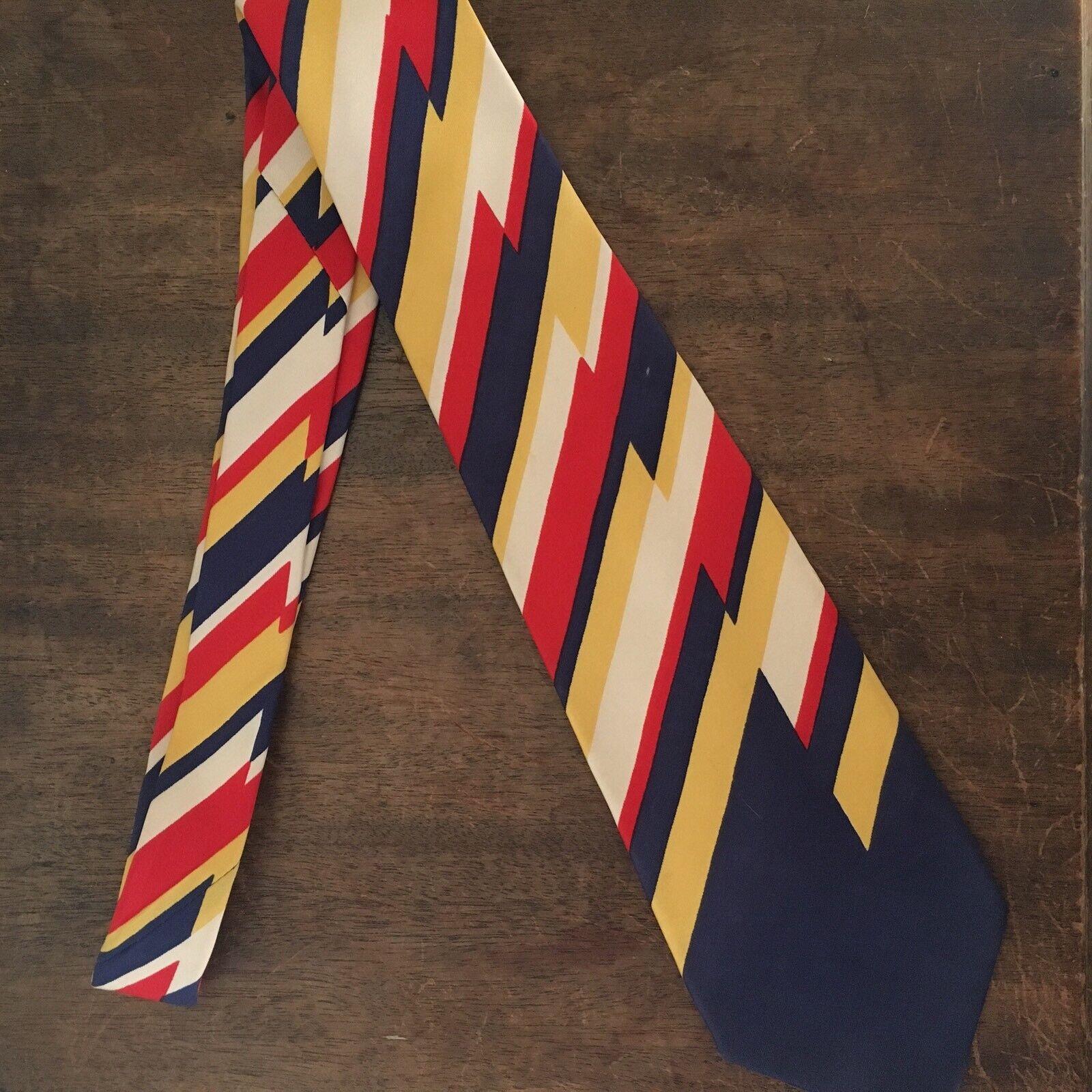 Vtg Mod Silk Tie Asymmetric Red Yellow Blue Necktie 1960s British American