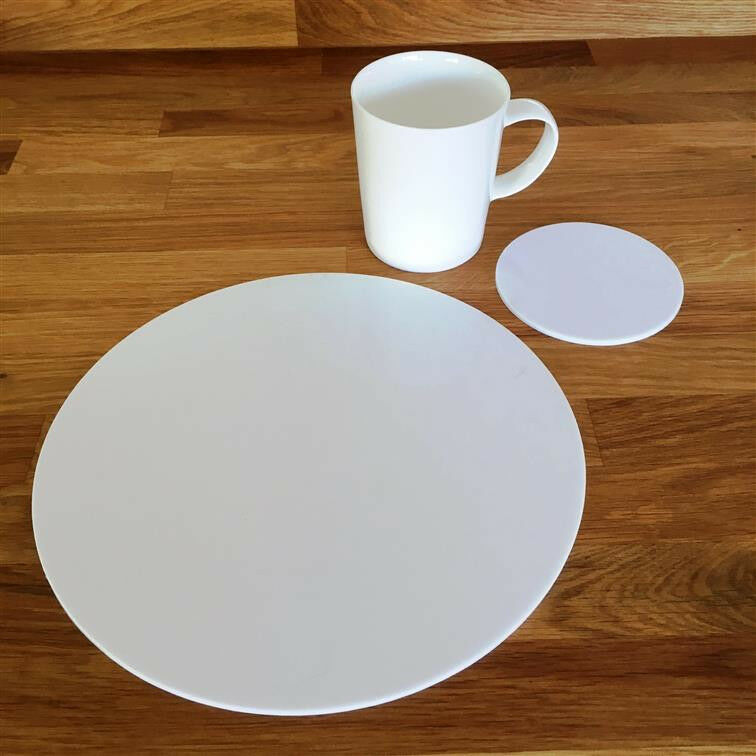 Round Placemat and Coaster Set - Weiß
