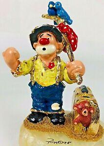 Ron-Lee-Clown-Grandpa-Hobo-Hitchhiking-Signed-24k-Gold-4-034-Tall-1998-66-2500